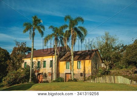 Bento Goncalves, Brazil - July 10, 2019. Countrified House In A Traditional Italian-influenced Style