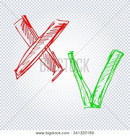 Acceptance And Rejection Symbol. Green Checkmark Ok And Red X Icons Isolated On Transparent Backgrou