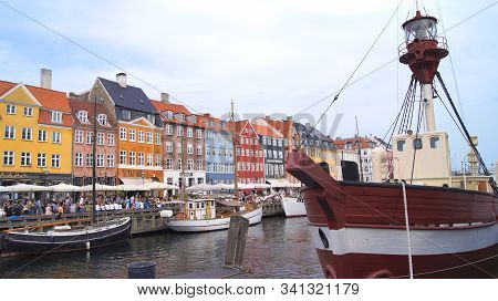 Copenhagen, Denmark - Jul 04th, 2015: Nyhavn District Is One Of The Most Famous Landmark In Copenhag