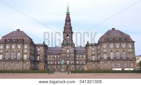 Copenhagen, Denmark - Jul 05th, 2015: Christiansborg Palace, Famous Landmark Of Danish Capital. Chri