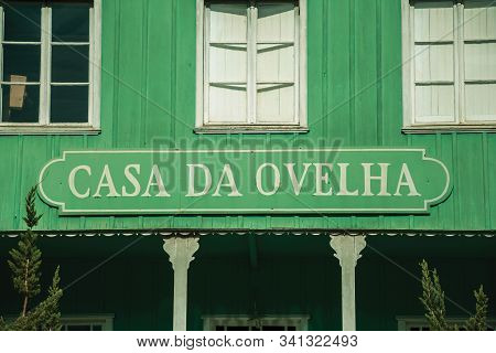 Bento Goncalves, Brazil - July 12, 2019. Casa Da Ovelha Signboard On Wood Facade Which Means Sheep H