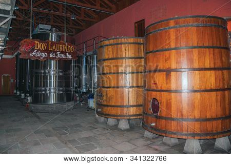 Bento Goncalves, Brazil - July 13, 2019. Stainless Steel And Wooden Tanks For Wine At The Don Laurin