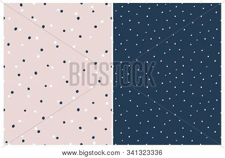 Simple Hand Drawn Irregular Dots Vector Patterns. Delicate Blue And White Tiny Dots On A Light Pink