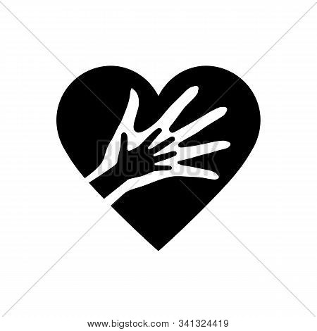 Hand Of Mother And Child In The Heart Icon. The Element Of Children Cares Image Or Help Kids Campaig