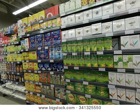 Dubai Uae - May 2019: Twinnings Tea In Boxes On Displayed For Sale At Supermarket. Assorted Packets