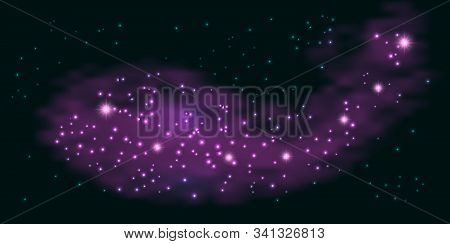 Abstract Galaxy Background With Purple Smoke And Shiny Stars. Nebula, Sparkles, Glowing Effect, Mist