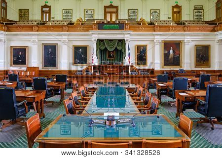 Austin, Texas - Interior Of The Senate Chamber Of The Legislature Of The State Of Texas Inside The T