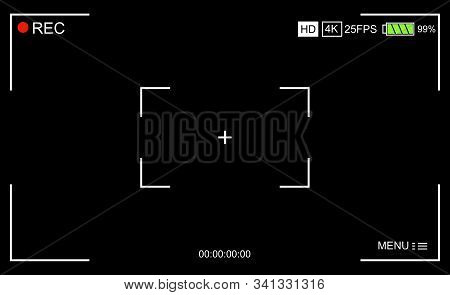 Camera Viewfinder. Template Focusing Screen Of The Camera. Viewfinder Camera Recording. Video Screen