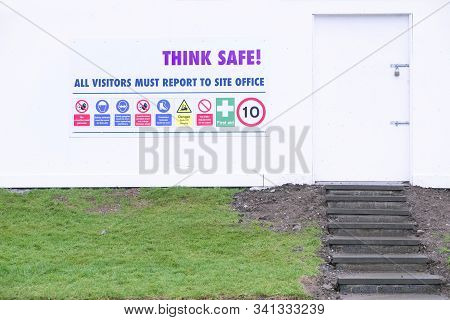 Think Safe Building Site Entrance Construction Safety Board At Door Entry