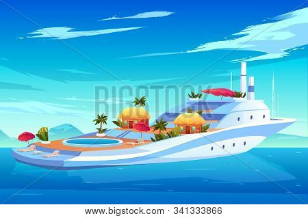 Future Yacht, Cruise Ship Or Liner, Luxury Floating Hotel With Swimming Pool, Bungalow Houses, Palm
