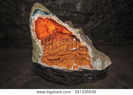 Gramado, Brazil - July 23, 2019. Huge Gemstone Of Citrine At The Mina, A Geological Museum In Gramad