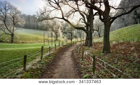 Footpath And Fences Leading Into A Beautiful Rural Landscape In Winter, Moody Soft Light