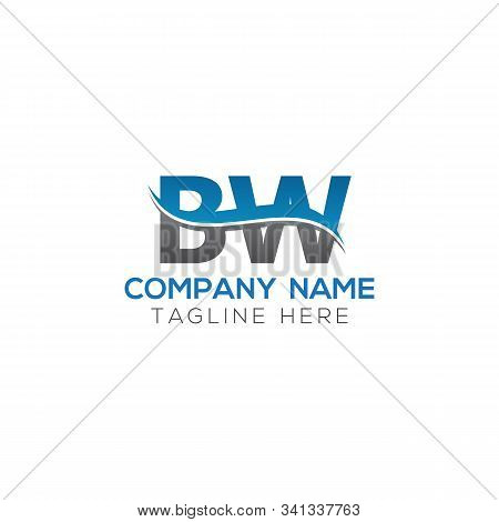 Bw Letter Logo With Water Wave Business Typography Vector Template. Creative Abstract Letter Bw Logo