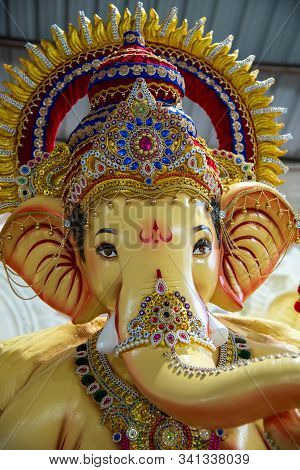 Statue Of Hindu God Ganesha. Close Up Of Ganesha Idol At An Artist's Workshop During Ganesha Festiva