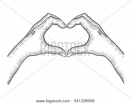 Hands Making Heart Symbol Sketch Engraving Vector Illustration. Romantic Love Lovesickness Symbol. T