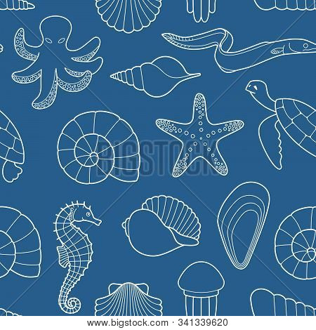 Seamless Background On The Theme Of The Sea And Marine Life
