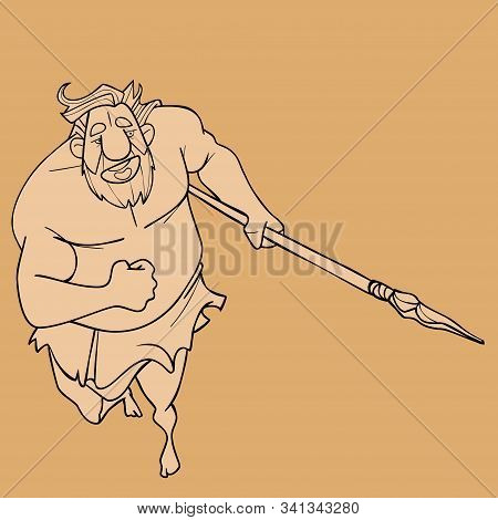 Sketch Of A Cartoon Running Ancient Neanderthal Man With A Spear In His Hand