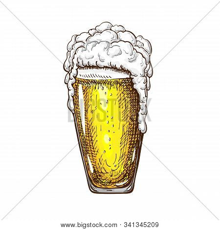 Vector Hand Drawn Tall Beer Glass Full Of Wheat Beer With Foam. Beautiful Vintage Beer Mug Or Pilsne