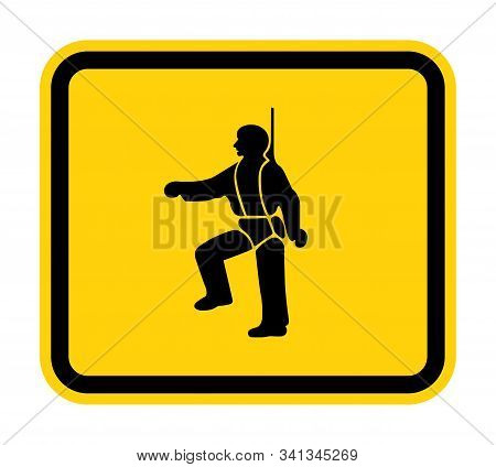 Ppe Icon.safety Harness Must Be Worn Symbols Sign Isolate On White Background,vector Illustration Ep