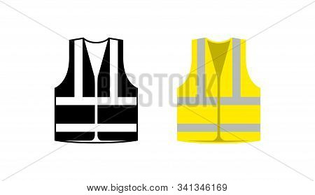 Safety Jacket Security Icon. Vector Life Vest Yellow Visibility Fluorescent Work Jacket