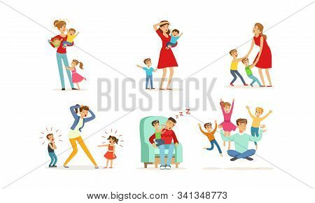 Tired Young Parents Exhausted With Nursing Little Kids Vector Illustrations Set. Kids Wanting To Pla