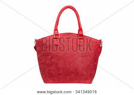 Red, Nubuck, Leather Elegant Women Bag. Fashionable Female Handbag, Isolated