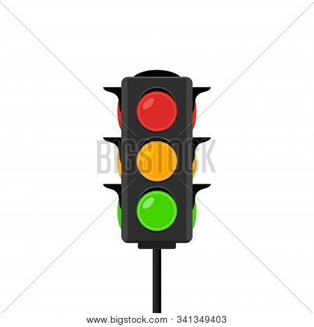 Traffic Light Vector Icon Signal. Stoplight Isolated Illustration Sign Red Green And Yellow