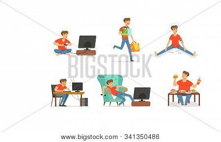 Young Man Having Bad Habits Vector Illustrations Set. Harmful Addictions Concept