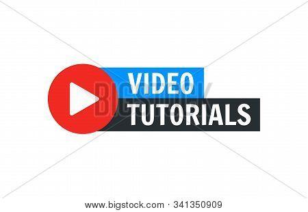 Video Tutorial Vector Icon. Webinar Training Online Video Tutorial Marketing Flat Media
