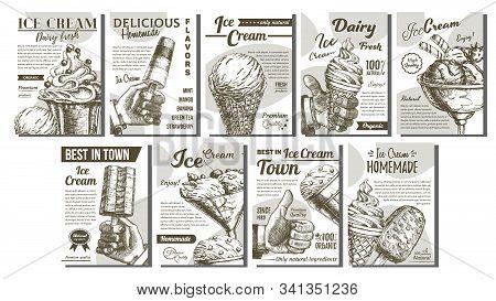 Assortment Frozen Ice Cream Set Posters Vector. Wafer Cone, Caramel Eskimo Or Chocolate Glaze Sundae
