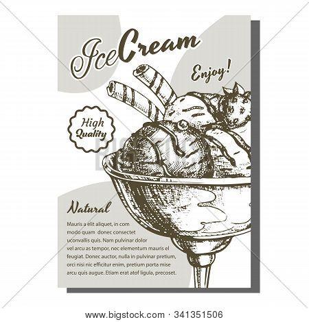 Scoop Ice Cream Cup With Berries Poster Vector. Tasty Frozen Milk Dessert Ice Cream In Bowl Decorate
