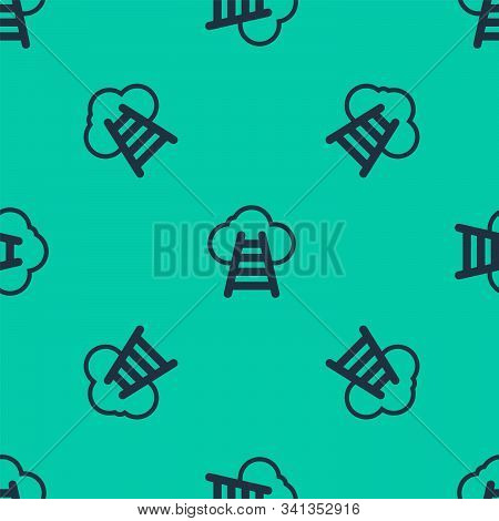 Blue Line Ladder Leading To Cloud Icon Isolated Seamless Pattern On Green Background. Stairs Leading