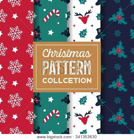 Set Of Christmas Seamless Patterns. Reindeer Holly Berry Snowflake Candy Cane Symmmetry Texture Back