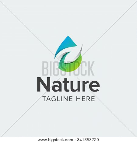 Water Leaf Logo Iconic. Branding For Bio Organic Company, Water Purity, Environment, Herbal, Health,