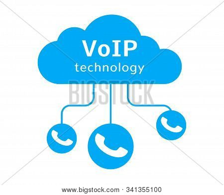 Voip Vector Icon. Internet Call Concept Connection. Voice Over Network, Voip Sign