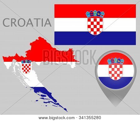 Colorful Flag, Map Pointer And Map Of Croatia In The Colors Of The Croatian Flag. High Detail. Vecto