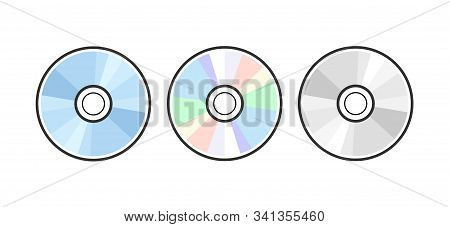 Cd Dvd Icon Disc Vector Blank Illustration. Compact Disk Dvd Music Audio