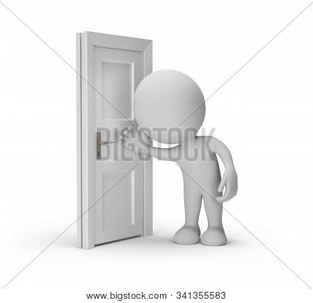 Man Eavesdrops At The Door. 3d Image. White Background.