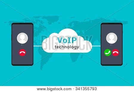 Voip Call System Voice Phone Technology. Voice Over Ip Internet Video Telephony Mobile Cellphone