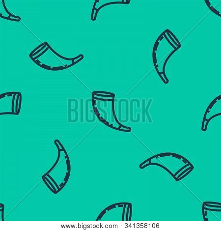 Blue Line Traditional Ram Horn, Shofar Icon Isolated Seamless Pattern On Green Background. Rosh Hash