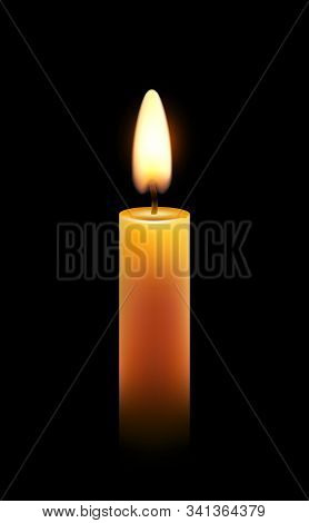 Vector Wax Candle Flame Isolated Light Background, Realistic Candlelight