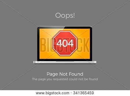 Error 404 Page Not Found. Website 404 Web Failure. Oops Trouble Internet Warning Design