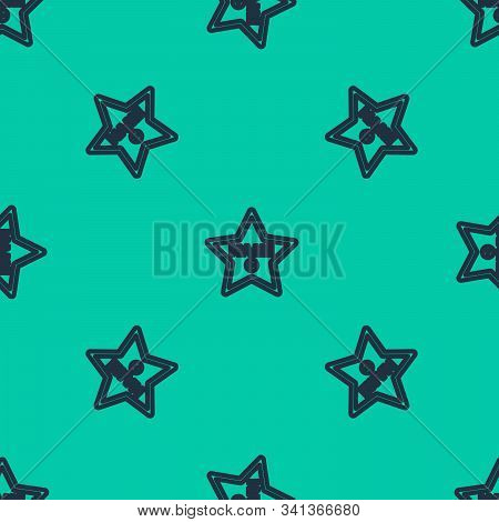 Blue Line Hollywood Walk Of Fame Star On Celebrity Boulevard Icon Isolated Seamless Pattern On Green