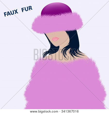 Girl In A Pink Winter Hat And Fur Coat, Stole, Cape, Long Pile - Vector. Artificial Fur. The Headdre