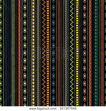 Striped Geometric Seamless Pattern. Colored Lines On A Dark Background. Ethnic And Tribal Motifs. Th