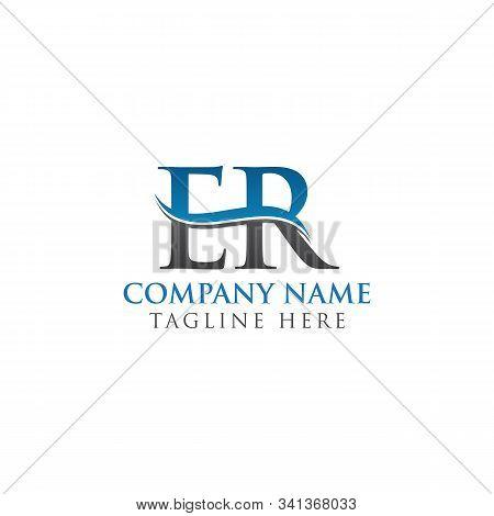 Initial Er Letter Linked Logo Business Vector Template. Water Wave Er Logo Design