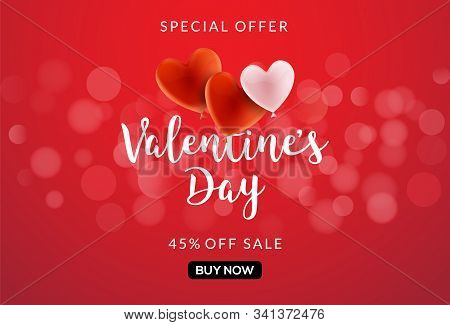 Valentines Day Sale Vector Banner Background With Hearts. Valentine Discount Holiday Poster Template
