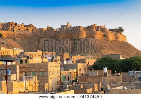 Jaisalmer,rajasthan,india - October 15,2019: Jaisalmer Fort Or Sonar Quila Or Golden Fort. Living Fo