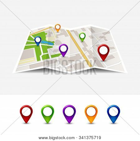 Map Gps Pin Icon Vector Road. Travel Home City Street Marker. Navigation Gps Illustration