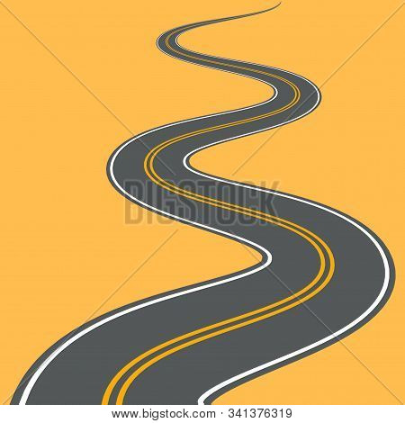 Winding Road Vector Highway Path Long Street Asphalt Isolated Perspective Road Way Journey Illustrat